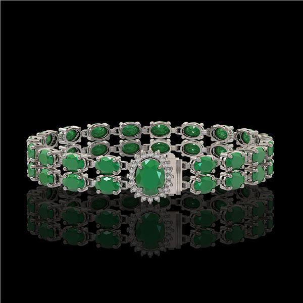 30.12 ctw Emerald & Diamond Bracelet 14K White Gold - REF-336Y4X