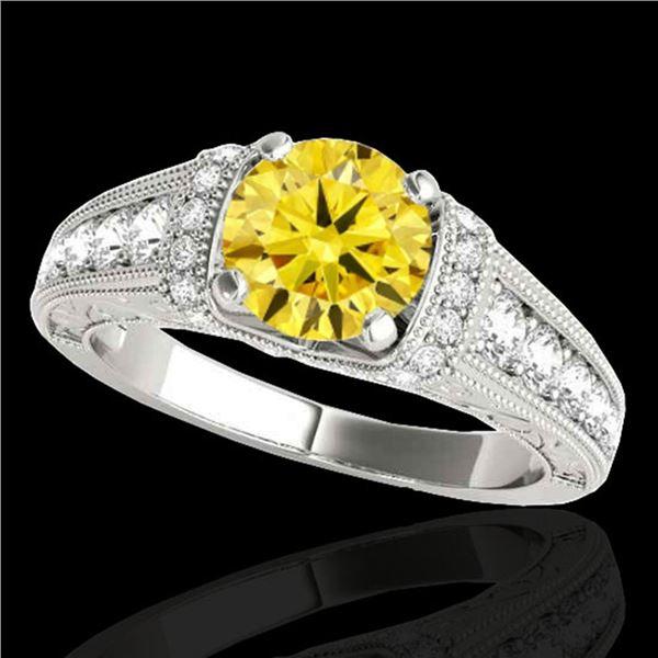 1.5 ctw Certified SI Intense Yellow Diamond Antique Ring 10k White Gold - REF-211M4G