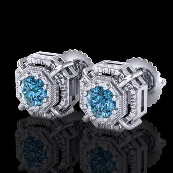 1.11 ctw Fancy Intense Blue Diamond Art Deco Earrings 18k White Gold - REF-158G2W