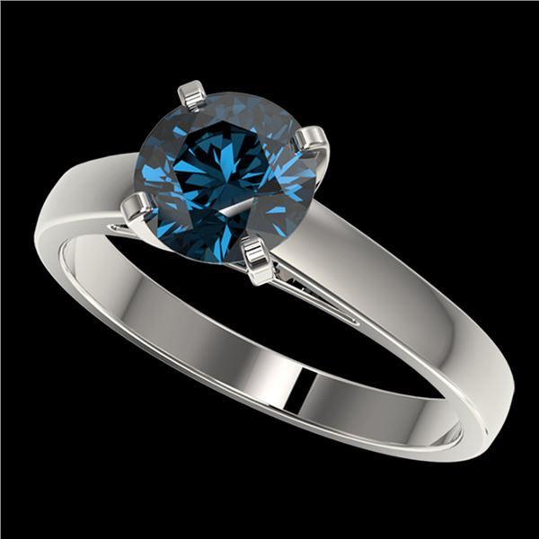 1.46 ctw Certified Intense Blue Diamond Engagment Ring 10k White Gold - REF-171G8W