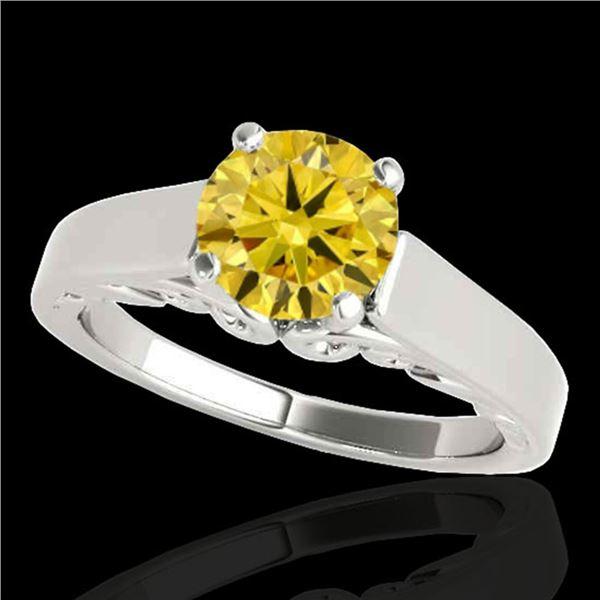 1 ctw Certified SI/I Fancy Intense Yellow Diamond Ring 10k White Gold - REF-156X8A