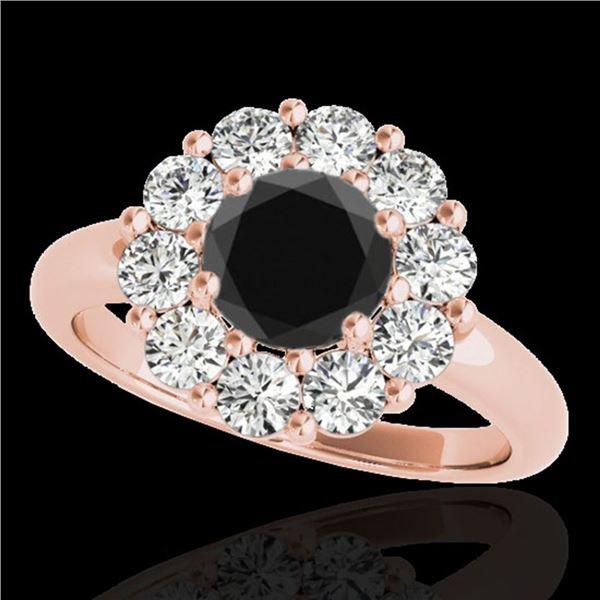 2.09 ctw Certified VS Black Diamond Solitaire Halo Ring 10k Rose Gold - REF-88N6F