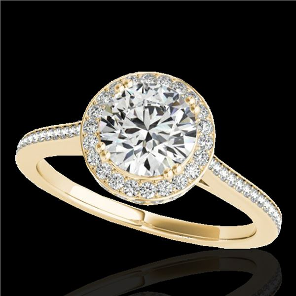 1.55 ctw Certified Diamond Solitaire Halo Ring 10k Yellow Gold - REF-204W5H