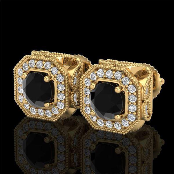 2.75 ctw Fancy Black Diamond Art Deco Stud Earrings 18k Yellow Gold - REF-178K2Y