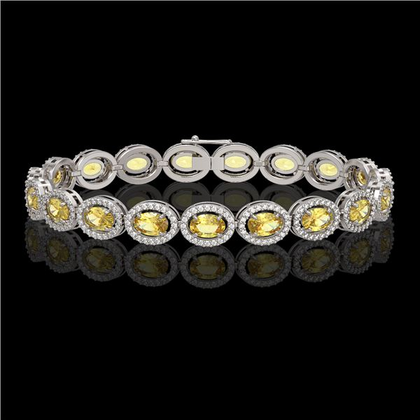 12.73 ctw Fancy Citrine & Diamond Micro Pave Halo Bracelet 10k White Gold - REF-263A6N