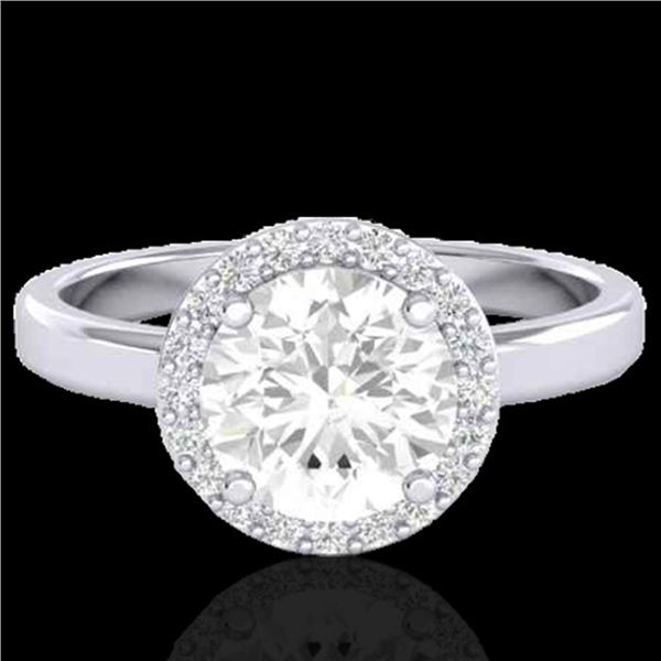 1.75 ctw Halo VS/SI Diamond Certified Micro Pave Ring 18k White Gold - REF-490M9G