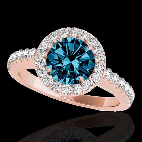 1.65 ctw SI Certified Fancy Blue Diamond Halo Ring 10k Rose Gold - REF-177W3H
