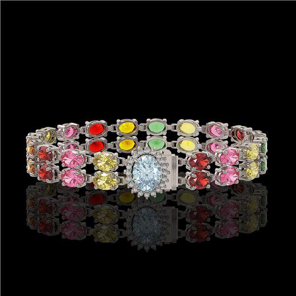 19.88 ctw Sapphire & Diamond Bracelet 14K White Gold - REF-236W4H