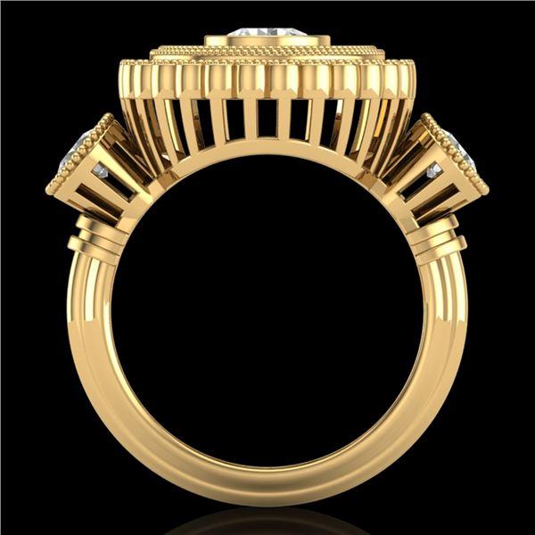 2.62 ctw VS/SI Diamond Solitaire Art Deco 3 Stone Ring 18k Yellow Gold - REF-343G5W