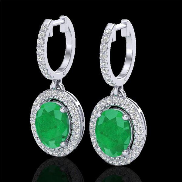 4.25 ctw Emerald & Micro Pave VS/SI Diamond Earrings 18k White Gold - REF-112G8W