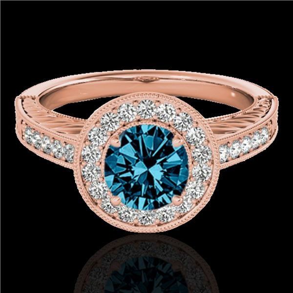 1.5 ctw SI Certified Fancy Blue Diamond Solitaire Halo Ring 10k Rose Gold - REF-150H2R