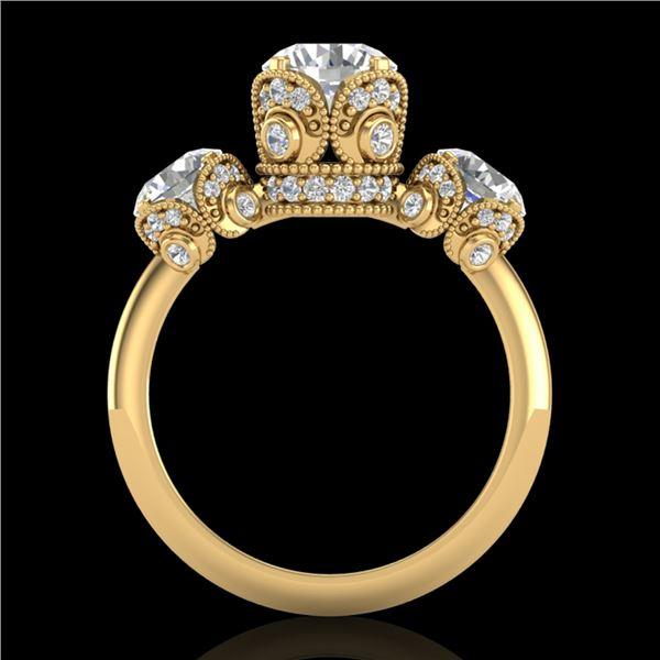 3 ctw VS/SI Diamond Art Deco 3 Stone Ring 18k Yellow Gold - REF-649H3R