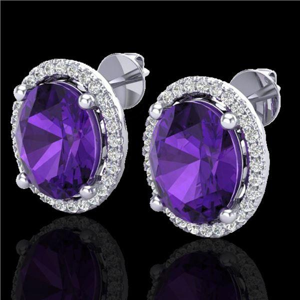5 ctw Amethyst & Micro Pave VS/SI Diamond Earrings 18k White Gold - REF-76A4N