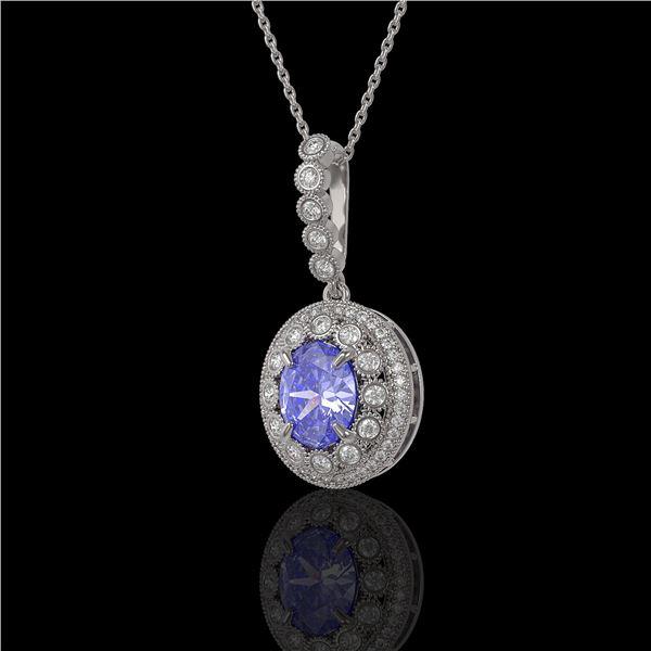 4.77 ctw Tanzanite & Diamond Victorian Necklace 14K White Gold - REF-169K8Y