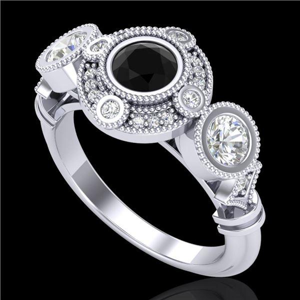 1.51 ctw Fancy Black Diamond Art Deco 3 Stone Ring 18k White Gold - REF-174Y5X
