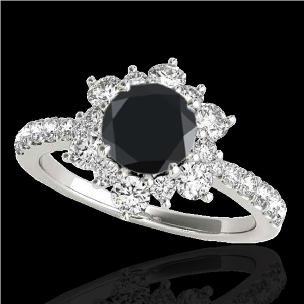 2 ctw Certified VS Black Diamond Solitaire Halo Ring 10k White Gold - REF-94A3N