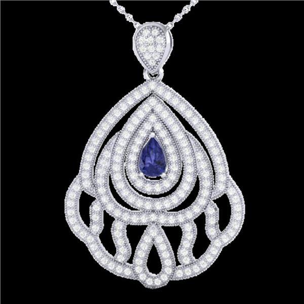 2 ctw Tanzanite & Micro Pave VS/SI Diamond Necklace 18k White Gold - REF-180R2K