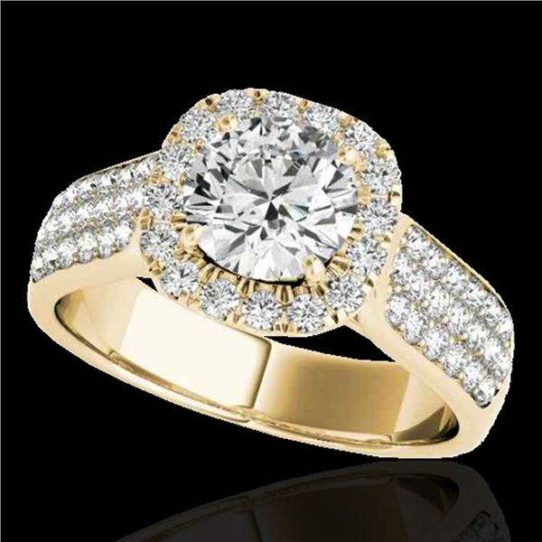 1.8 ctw Certified Diamond Solitaire Halo Ring 10k Yellow Gold - REF-193X6A