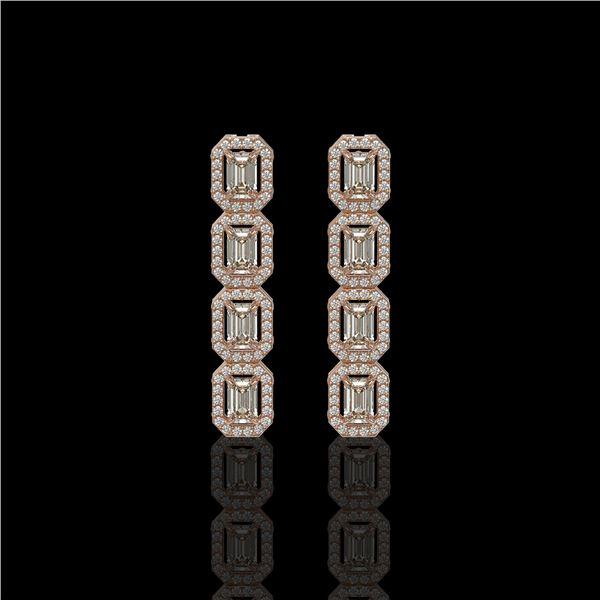 3.84 ctw Emerald Cut Diamond Micro Pave Earrings 18K Rose Gold - REF-459A8N