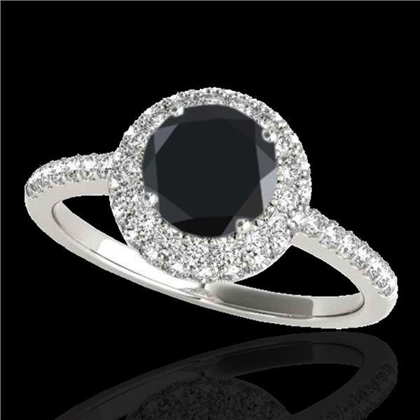 1.6 ctw Certified VS Black Diamond Solitaire Halo Ring 10k White Gold - REF-56G5W