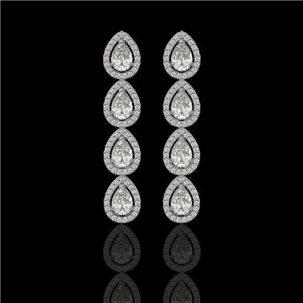 5.22 ctw Pear Cut Diamond Micro Pave Earrings 18K White Gold - REF-727N2F