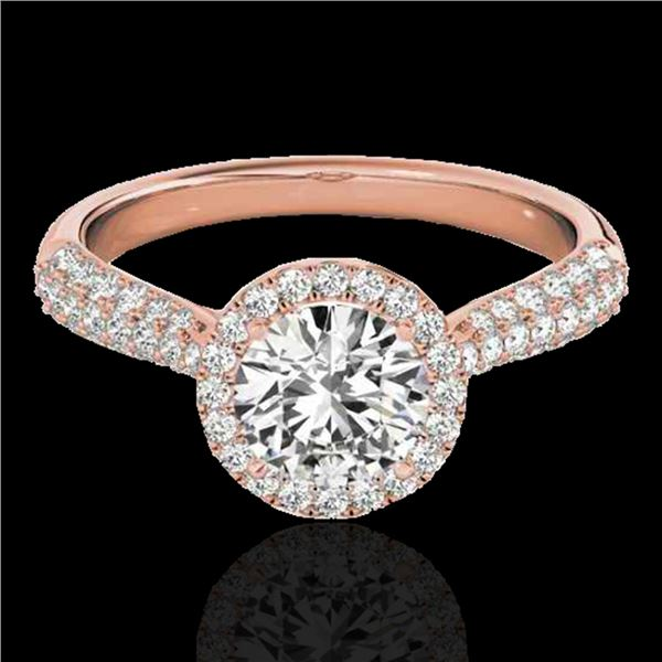 1.40 ctw Certified Diamond Solitaire Halo Ring 10k Rose Gold - REF-204M5G