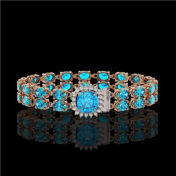17.67 ctw Swiss Topaz & Diamond Bracelet 14K Rose Gold - REF-178H2R