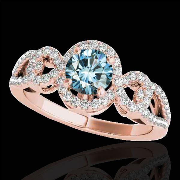 1.38 ctw SI Certified Fancy Blue Diamond Halo Ring 10k Rose Gold - REF-130K9Y