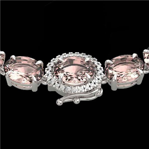 42.25 ctw Morganite & Diamond Eternity Micro Necklace 14k White Gold - REF-490M9G