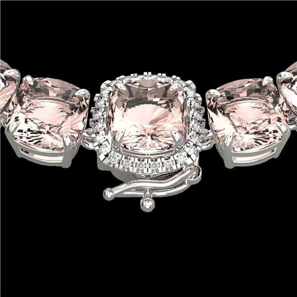 87 ctw Morganite & VS/SI Diamond Halo Micro Necklace 14k White Gold - REF-1163A6N