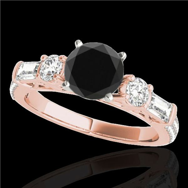 2.5 ctw Certified VS Black Diamond Pave Solitaire Ring 10k Rose Gold - REF-104N2F