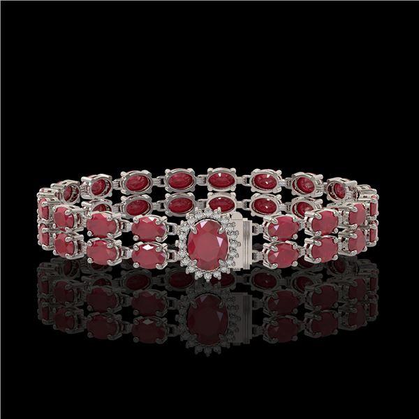 30.12 ctw Ruby & Diamond Bracelet 14K White Gold - REF-336X4A