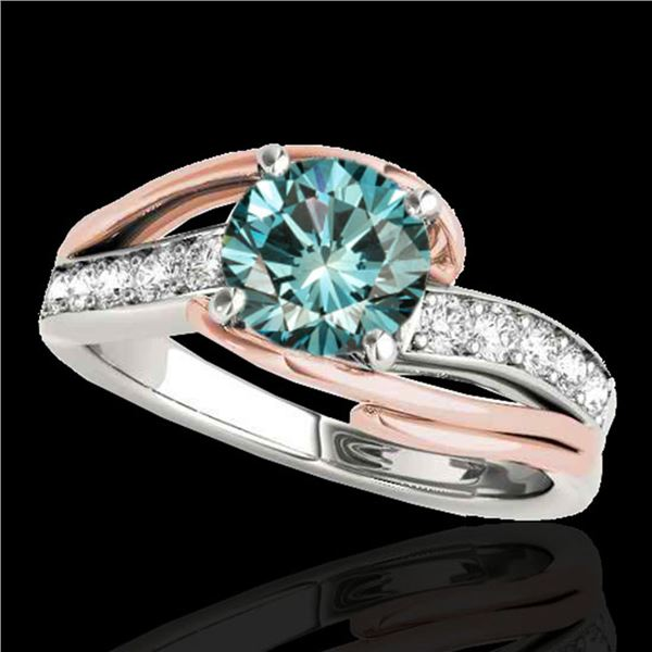 1.25 ctw SI Certified Fancy Blue Diamond Bypass Ring 10k 2Tone Gold - REF-132H3R