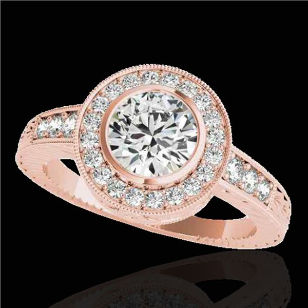 1.50 ctw Certified Diamond Solitaire Halo Ring 10k Rose Gold - REF-197Y8X