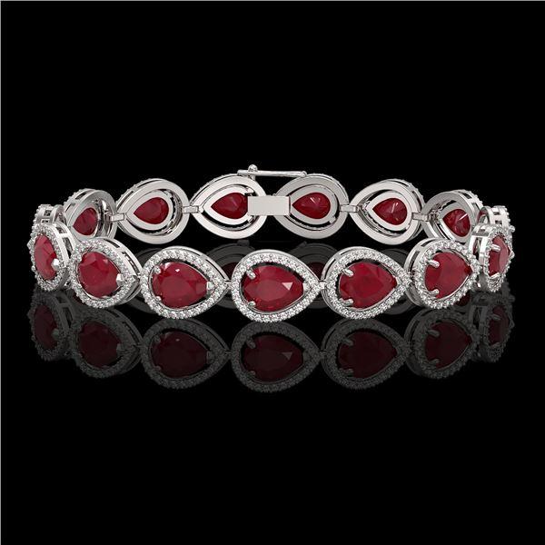 30.06 ctw Ruby & Diamond Micro Pave Halo Bracelet 10k White Gold - REF-368M5G