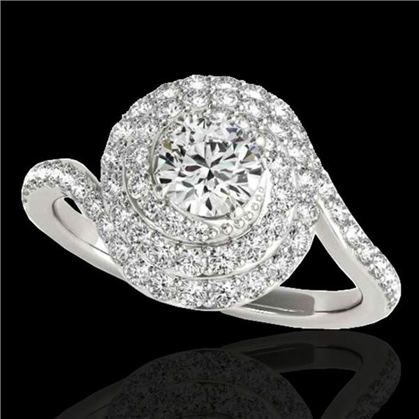 1.86 ctw Certified Diamond Solitaire Halo Ring 10k White Gold - REF-184M3G