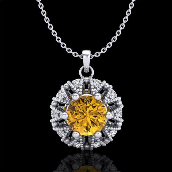 1.2 ctw Intense Fancy Yellow Diamond Art Deco Necklace 18k White Gold - REF-134N5F