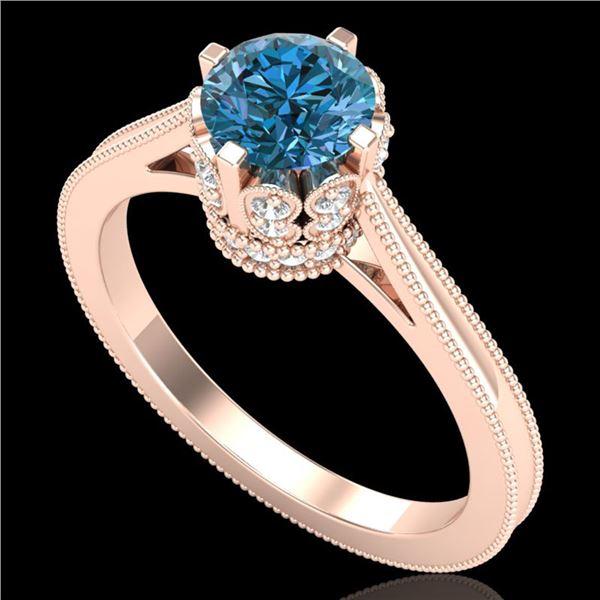 1.14 ctw Fancy Intense Blue Diamond Art Deco Ring 18k Rose Gold - REF-156R4K