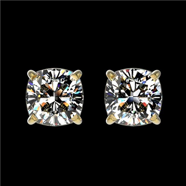 1 ctw Certified VS/SI Quality Cushion Diamond Stud Earrings 10k Yellow Gold - REF-120X3A