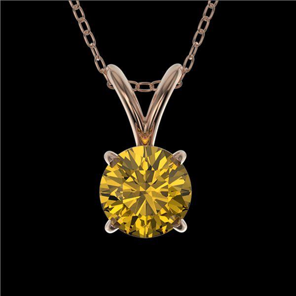 0.50 ctw Certified Intense Yellow Diamond Necklace 10k Rose Gold - REF-57F8M