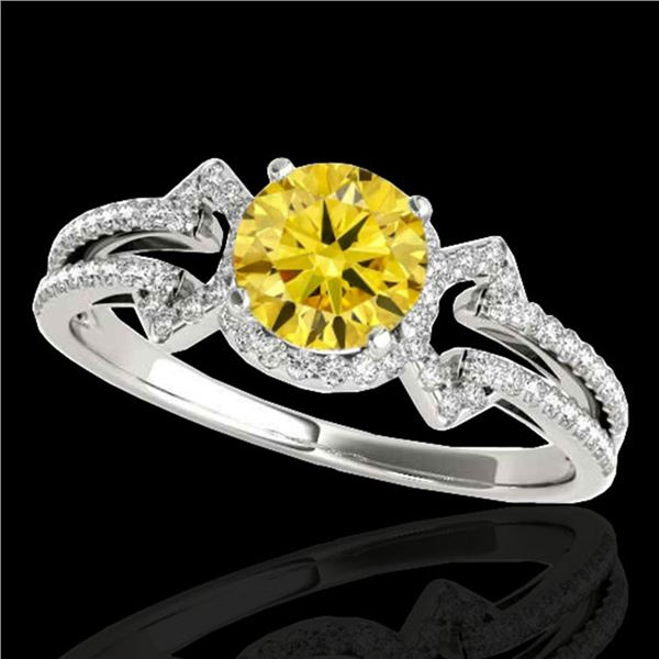 1.36 ctw Certified SI/I Fancy Intense Yellow Diamond Ring 10k White Gold - REF-204X5A