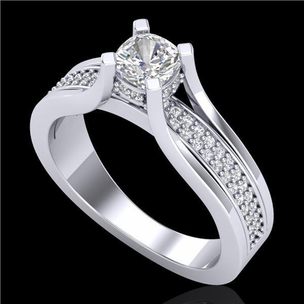 1.01 ctw Cushion VS/SI Diamond Micro Pave Ring 18k White Gold - REF-174R5K