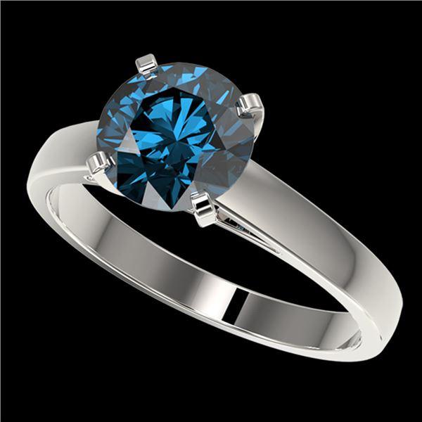 2.04 ctw Certified Intense Blue Diamond Engagment Ring 10k White Gold - REF-331X4A