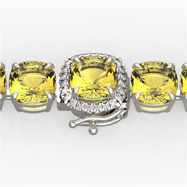35 ctw Citrine & Micro VS/SI Diamond Bracelet 14k White Gold - REF-134F2M