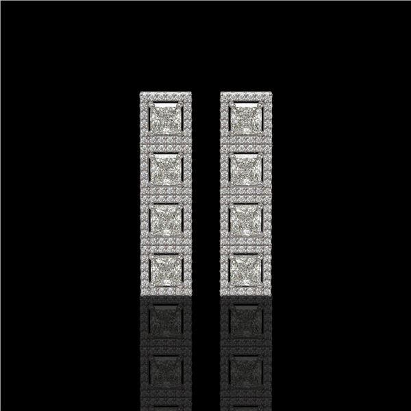 5.31 ctw Princess Cut Diamond Micro Pave Earrings 18K White Gold - REF-733G8W