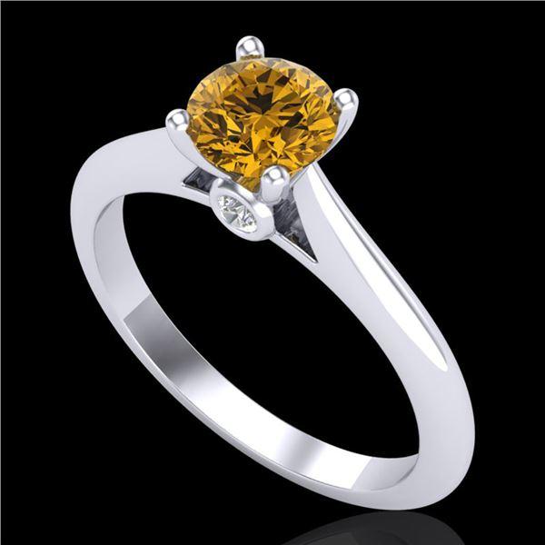 0.83 ctw Intense Fancy Yellow Diamond Art Deco Ring 18k White Gold - REF-107H8R