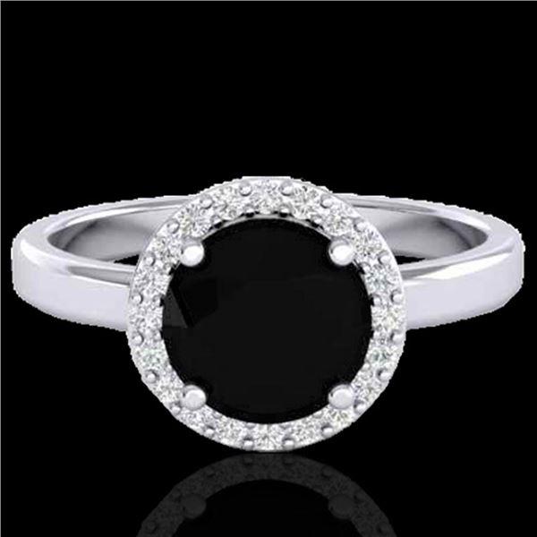 2 ctw Halo VS/SI Diamond Certified Micro Pave Ring 18k White Gold - REF-78R8K