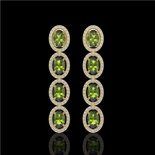 5.88 ctw Tourmaline & Diamond Micro Pave Halo Earrings 10k Yellow Gold - REF-143A6N
