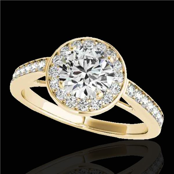 1.45 ctw Certified Diamond Solitaire Halo Ring 10k Yellow Gold - REF-197N8F