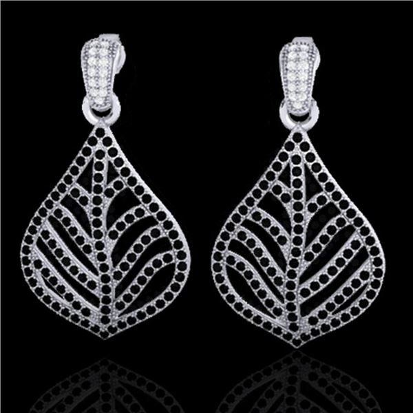 2.50 ctw Micro Pave Black & White VS/SI Diamond Earrings 18k White Gold - REF-235W8H